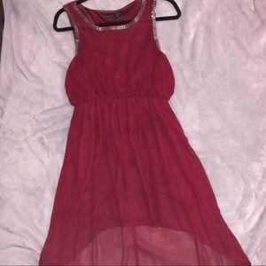 Burgundy high low dress